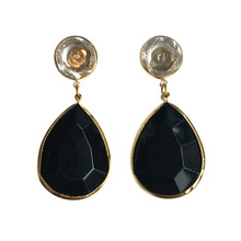 Crystal and Black Drop Earring