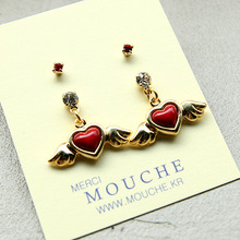 Tiny Charm Earring Set4-Heart Wing