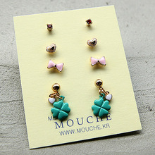 Tiny Charm Earring Set2-리본
