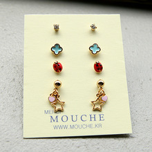 Tiny Charm Earring Set1-무당벌레