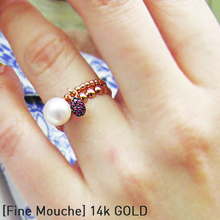 [FINE MOUCHE] Pearl Ruby Ring Set