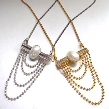 Pearl Chains Brooch&Necklace