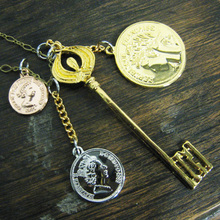 Key n Coins long necklace